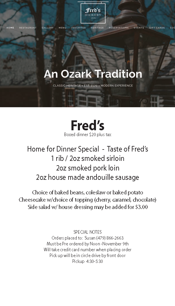 Fred's Special Menu